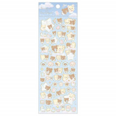 Japan San-X Rilakkuma Bear Seal Sticker - Korilakkuma & Chairoikoguma Fluffy Angel Blue