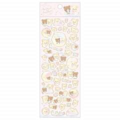 Japan San-X Rilakkuma Bear Seal Sticker - Korilakkuma & Chairoikoguma Fluffy Angel Pink