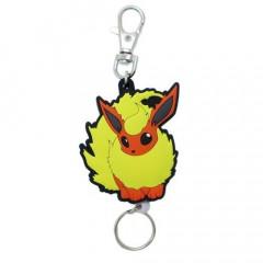 Japan Pokemon Rubber Reel Key Chain - Eevee Flareon