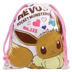 Japan Pokemon Drawstring Bag - Eevee Pink