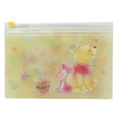 Japan Disney 2 Pocket Zip Pouch - Winnie the Pooh
