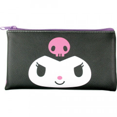 Japan Sanrio Flat Artificial Leather Pouch - Kuromi