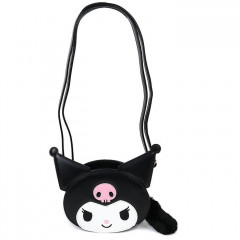 Japan Sanrio Fluffy Zipper Shoulder Bag - Kuromi