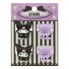 Japan Sanrio Mini Hair Clip 4pcs - Kuromi