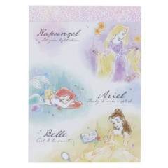 Japan Disney B8 Mini Notepad - Princess Ariel Rapunzel Belle