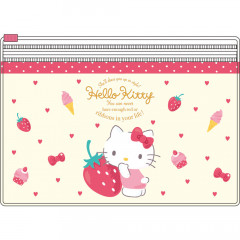 Japan Sanrio 2 Pocket Antibacterial Mask Case Clear Pouch - Hello Kitty