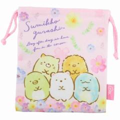 Japan Sumikko Gurashi Drawstring Bag - Pink Flora