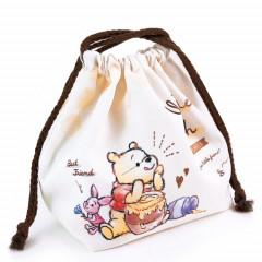 Japan Disney Drawstring Bag - Winnie the Pooh & Piglet White