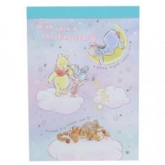 Japan Disney B8 Mini Notepad - Winnie the Pooh & Friends Sky
