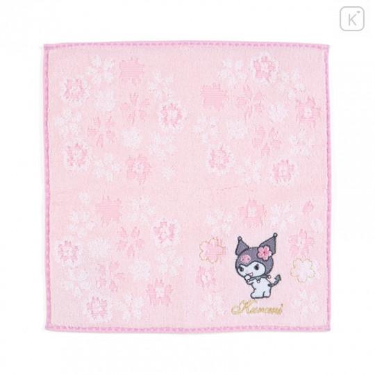 Japan Sanrio Sakura Handkerchief Petit Towel - Kuromi - 1