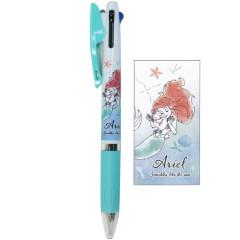 Japan Disney Jetstream 3 Color Multi Ball Pen - Little Mermaid Ariel Turquoise