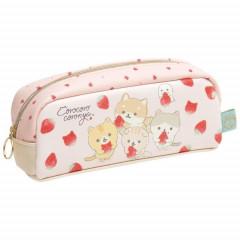 Japan San-X Synthetic Leather Pouch (M) - Corocoro Coronya / Strawberry Bread