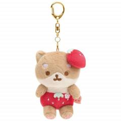 Japan San-X Keychain Plush - Shibainu Komame Corocoro Coronya / Strawberry