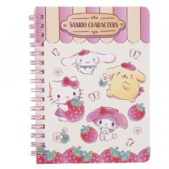 Sanrio A6 Twin Ring Notebook - Sanrio Family Strawberry