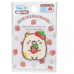 Japan Sumikko Gurashi Embroidery Iron-on Applique Patch - Cat Strawberry