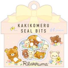 Japan San-X Writable Seal Bits Sticker - Rilakkuma / Flower