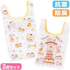 Japan Sanrio Eco Bag 2pc Set - Pompompurin / 25th Anniversary White