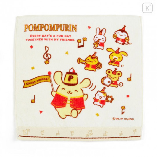 Japan Sanrio Handkerchief Petit Towel - Pompompurin / 25th Anniversary - 1