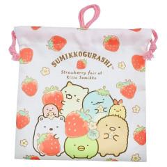 Japan San-X Drawstring Bag - Sumikko Gurashi / Strawberry Fair