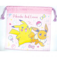 Japan Pokemon Drawstring Bag - Pikachu & Eevee