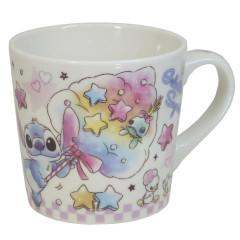 Japan Disney Ceramic Mug - Stitch & Scrump Colorful Marshmallow