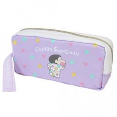 Japan Crayon Shin Chan Zipper Pen Pouch - Purple