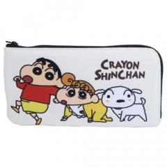 Japan Crayon Shin Chan Flat Pouch - Shinnosuke & Himawari Nohara & Shiro Pink White