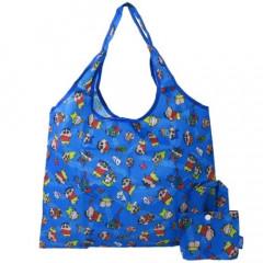 Japan Crayon Shin-chan Eco Shopping Bag & Mini Bag - Shinnosuke & Friends Blue