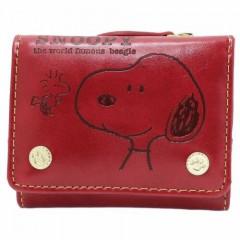 Japan Snoopy Bi-Fold Wallet - Wine Red