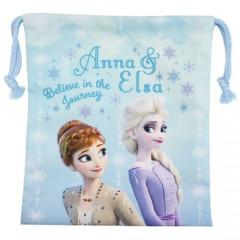 Japan Disney Drawstring Bag - Frozen II Elsa & Anna