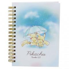 Japan Pokemon Twin Ring A6 Notebook - Pikachu / Umbrella