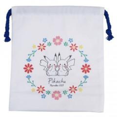 Japan Pokemon Drawstring Bag - Pikachu White (S)