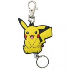 Japan Pokemon Rubber Reel Key Chain - Pikachu Smile