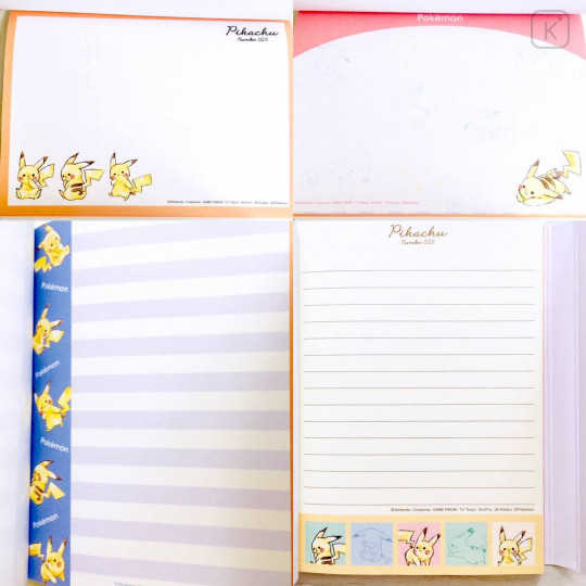 Japan Pokemon A6 Notepad with Cover - Pikachu / Colorful - 2