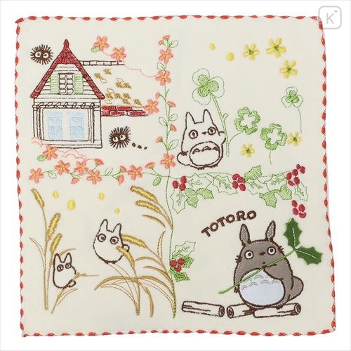 Japan Ghibli Embroidery Handkerchief - My Neighbor Totoro / Flower - 1
