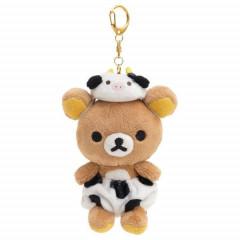 Japan San-X Keychain Plush - Rilakkuma / Cow Pants and Hat