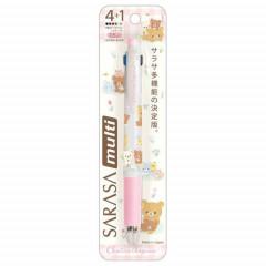 Japan San-X Sarasa Clip 4+1 Multi Pen & Pencil - Rilakkuma Relax Bear Pink