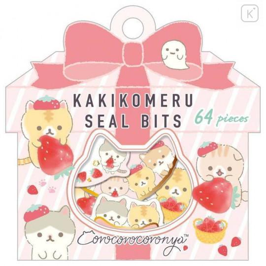 Japan San-X Writable Seal Bits Sticker - Corocoro Coronya / Strawberry - 1