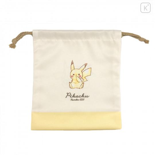 Japan Pokemon Drawstring Bag (S) - Pikachu / Simple - 1