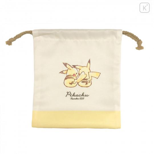 Japan Pokemon Drawstring Bag (S) - Pikachu / Simple - 2