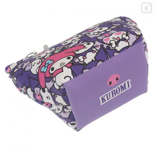 Japan Sanrio Triangular Mini Pouch - Full Kuromi & Melody - 5