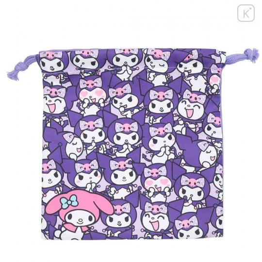 Japan Sanrio Drawstring Bag - Full Kuromi & Melody - 1