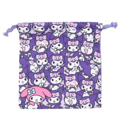 Japan Sanrio Drawstring Bag - Full Kuromi & Melody