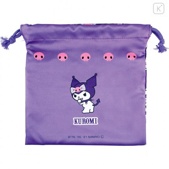 Japan Sanrio Drawstring Bag - Full Kuromi & Melody - 4