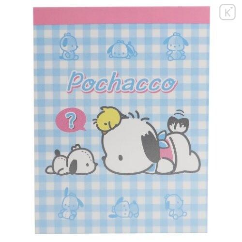 Japan Sanrio B8 Mini Notepad - Pochacco / Plaid - 1