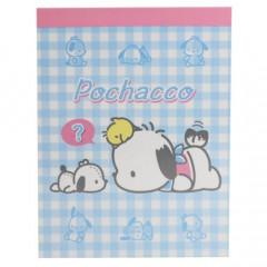 Japan Sanrio B8 Mini Notepad - Pochacco / Plaid