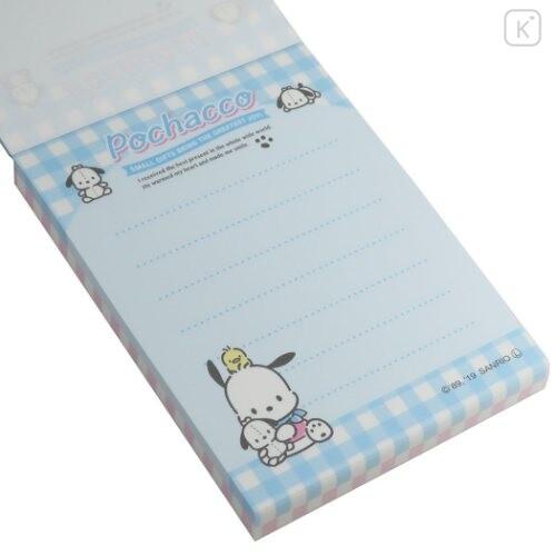 Japan Sanrio B8 Mini Notepad - Pochacco / Plaid - 2
