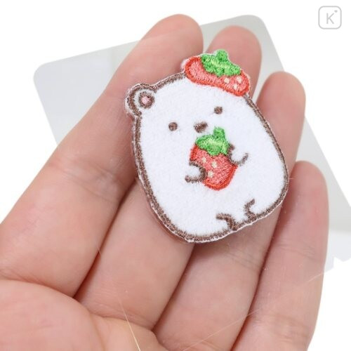 Japan Sumikko Gurashi Embroidery Iron-on Applique Patch - White Bear Strawberry - 2