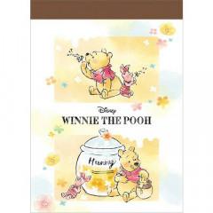 Japan Disney B8 Mini Notepad - Winnie the Pooh & Piglet Chill