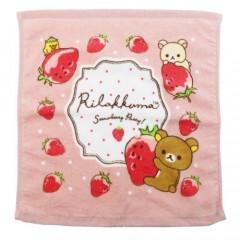 Japan San-X Handkerchief Wash Towel - Rilakkuma / Strawberry Party